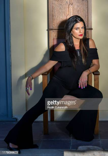 Bridgetta Tomarchio wear jewelry by Jimeye Designs during Giveback Day at TAP The Artists Project on October 04 2019 in Los Angeles California