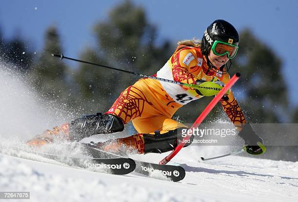 Bridgette Acton of Canada competes in her first run during the FIS Women's Alpine World Cup Slalom on November 26 2006 in Aspen Colorado