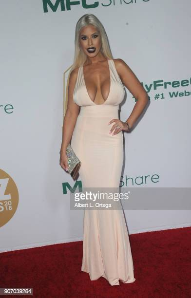 Bridgette B arrives for the 2018 XBIZ Awards held at J.W. Marriot at L.A. Live on January 18, 2018 in Los Angeles, California.