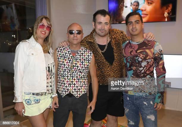Bridgette Morphew Art Dealer Poet Jimmy D Robinson Jason Lyon and Model Christian J Perez attend Art Miami VIP Kickoff at Art Miami Pavilion on...