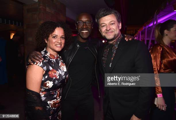 Bridgid Coulter actors Don Cheadle and Andy Serkis at the Los Angeles World Premiere of Marvel Studios' BLACK PANTHER at Dolby Theatre on January 29...