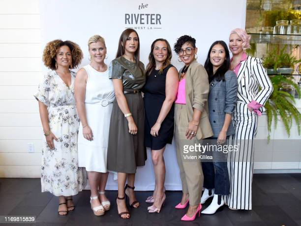 Bridgid Coulter Alison Sweeney Mandana Dayani Founder of The Riveter Amy Nelson Mimi G Melissa Magsaysay and Rebecca KingCrews attend The Riveter's...