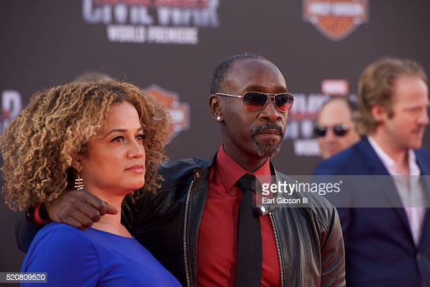 Bridgid Coulter and Actor Don Cheadle attend the Premiere Of Marvel's Captain America Civil War on April 12 2016 in Hollywood California