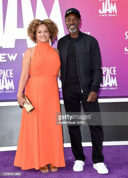 """Bridgid Coulter and Don Cheadle attend the Premiere of Warner Bros """"Space Jam: A New Legacy"""" at Regal LA Live on July 12, 2021 in Los Angeles,..."""