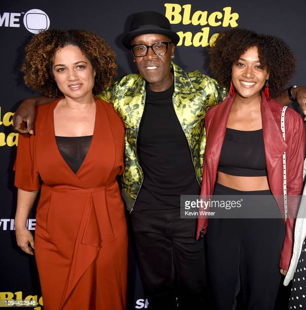 Bridgid Coulter Don Cheadle and Imani Cheadle arrive at the premiere of Showtime's Black Monday at The Theatre at Ace Hotel on January 14 2019 in Los...