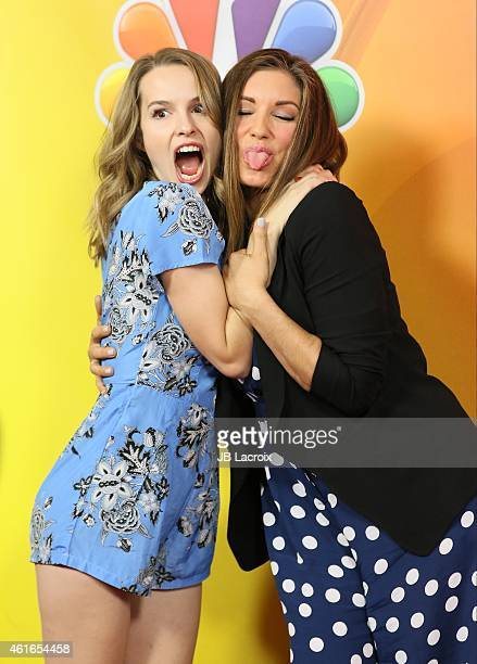 Bridgit Mendler and Bianca Kajlich attend the NBCUniversal 2015 Press Tour at the Langham Huntington Hotel on January 16 2015 in Pasadena California