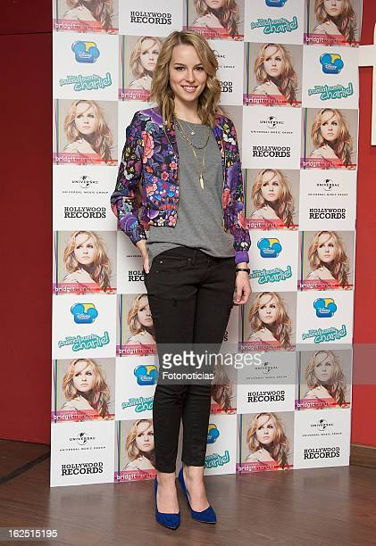 Bridgit Mendler attends a signing session for her latest album and meet fans at the FNAC on February 24 2013 in Madrid Spain