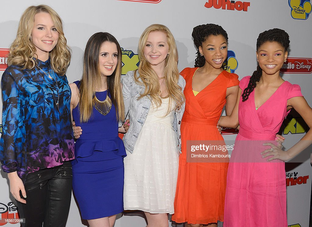 Bridgit Mendler, Laura Marano, Dove Cameron, Chloe Bailey and Halle Bailey attend the Disney Channel Kids Upfront 2013 at Hudson Theatre on March 12, 2013 in New York City.
