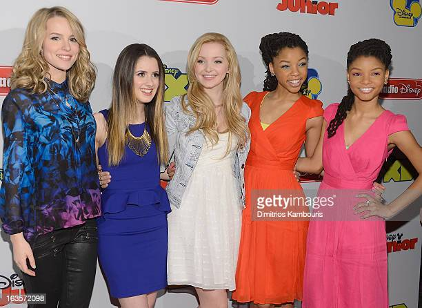 Bridgit Mendler, Laura Marano, Dove Cameron, Chloe Bailey and Halle Bailey attend the Disney Channel Kids Upfront 2013 at Hudson Theatre on March 12,...