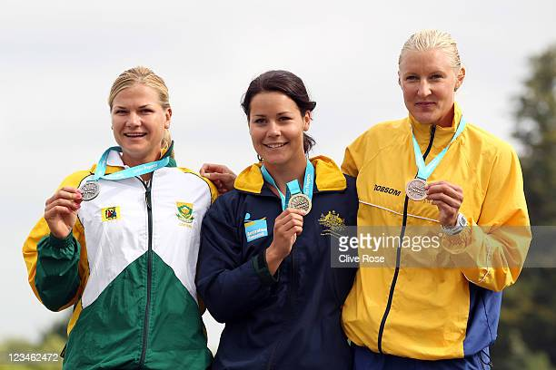 Bridgitte Hartley of South Africa, Alana Nicholls of Australia and Sofia Paldanius of Sweden pose with their medals after the Womens 500m K1 Class...