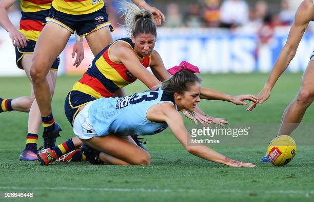 Bridie Kennedy of Carlton during the round five AFLW match between the Adelaide Crows and the Carlton Blues at Norwood Oval on March 3 2018 in...