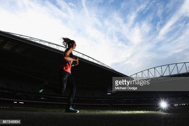 Bridie Kennedy of the Dandenong Stingays win the second 2km time trial run during the AFLW Draft Combine at Etihad Stadium on October 4 2017 in...
