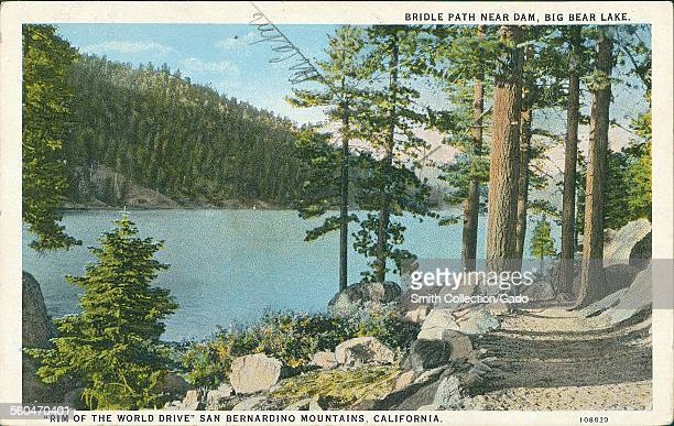 Bridle path near a dam on Rim of the World drive at Big Bear Lake with pine trees and rocks 1935