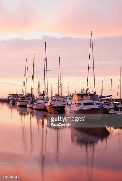 bridlington harbour at sunrise - bridlington stock pictures, royalty-free photos & images