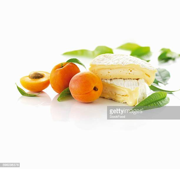brie and apricots - apricot stock pictures, royalty-free photos & images