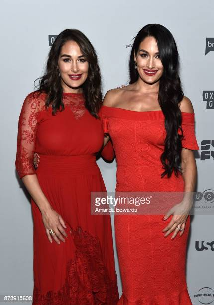 Brie Bella and Nikki Bella arrive at NBCUniversal's Press Junket at Beauty Essex on November 13 2017 in Los Angeles California