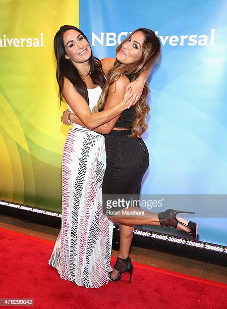 Brie Bella and Nikki Bella attend the NBC's 2015 New York Summer Press Day at Four Seasons Hotel New York on June 24 2015 in New York City