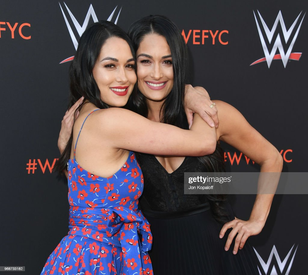 Brie Bella and Nikki Bella attend WWE's First-Ever Emmy 'For Your Consideration' Event at Saban Media Center on June 6, 2018 in North Hollywood, California.