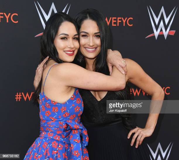 """Brie Bella and Nikki Bella attend WWE's First-Ever Emmy """"For Your Consideration"""" Event at Saban Media Center on June 6, 2018 in North Hollywood,..."""