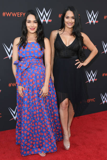Brie Bella and Nikki Bella attend WWE's FirstEver Emmy For Your Consideration Event at Saban Media Center on June 6 2018 in North Hollywood California