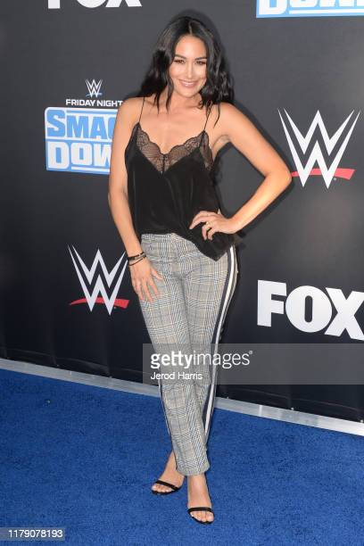 Brie Bella attends WWE 20th Anniversary Celebration Marking Premiere of WWE Friday Night SmackDown on FOX at Staples Center on October 04 2019 in Los...