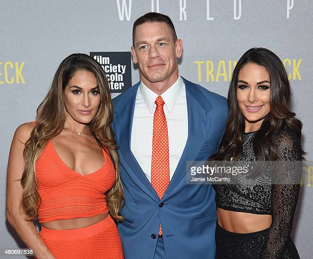 Brie Bella John Cena and Nikki Bella attend the Trainwreck New York Premiere at Alice Tully Hall on July 14 2015 in New York City