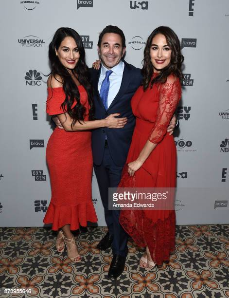 Brie Bella Nikki Bella and Dr Paul Nassif arrive at NBCUniversal's Press Junket at Beauty Essex on November 13 2017 in Los Angeles California