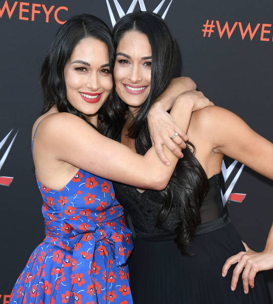 Brie Bella Nikki Bella arrives at the WWE's FirstEver Emmy For Your Consideration Event at Saban Media Center on June 6 2018 in North Hollywood...