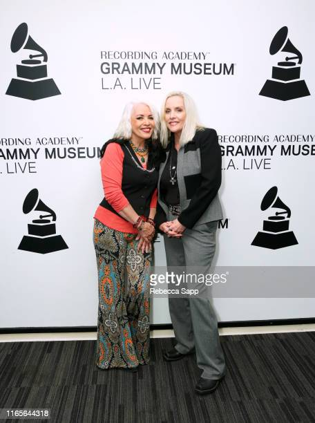 Brie Darling and Cherie Currie attend The Drop Cherie Currie Brie Darling at the GRAMMY Museum on August 01 2019 in Los Angeles California