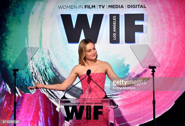 Brie Larson accepts The Crystal Award for Excellence in Film onstage during the Women In Film 2018 Crystal Lucy Awards presented by Max MaraLancôme...