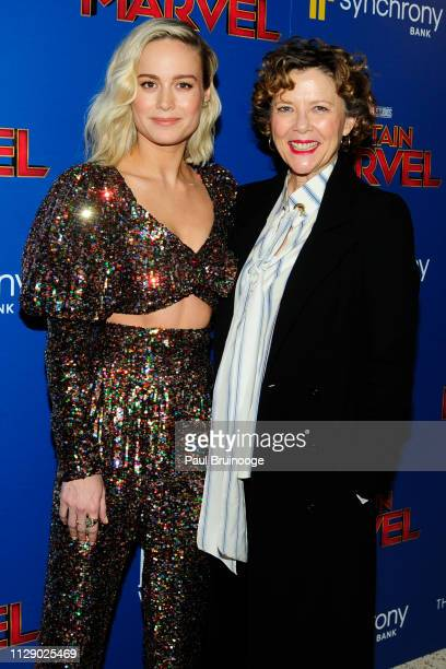 Brie Larson and Annette Bening attend The Cinema Society With Synchrony Bank And FIJI Water Host A Special Screening Of Marvel Studios' Captain...