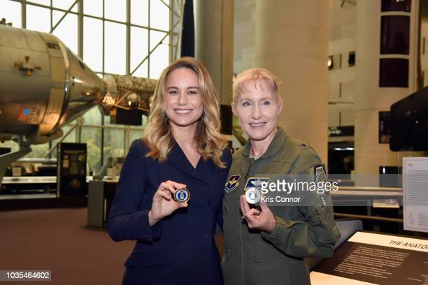 Brie Larson and Brigadier General Jeannie M Leavitt attend Marvel Studios' CAPTAIN MARVEL Teaser Trailer Launch at National Air Space Museum on...