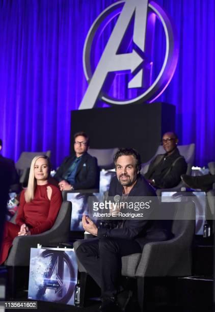 Brie Larson and Chris Evans Robert Downey Jr and Don Cheadle speak onstage during Marvel Studios' Avengers Endgame Global Junket Press Conference at...