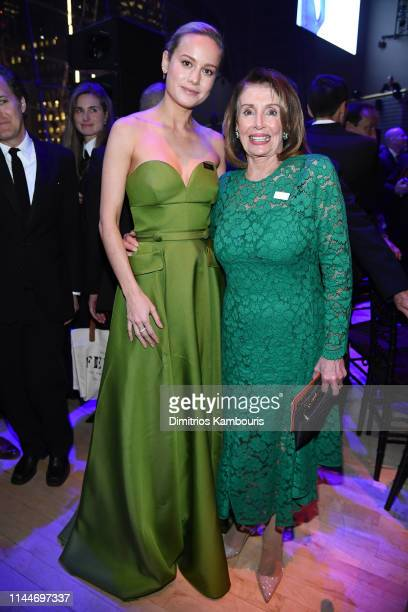 Brie Larson and Nancy Pelosi attend the TIME 100 Gala 2019 Dinner at Jazz at Lincoln Center on April 23 2019 in New York City