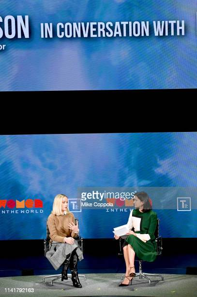 Brie Larson and Radhika Jones speak at the 10th Anniversary Women In The World Summit at David H Koch Theater at Lincoln Center on April 10 2019 in...