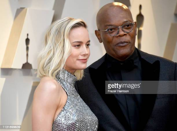 Brie Larson and Samuel L Jackson attend the 91st Annual Academy Awards at Hollywood and Highland on February 24 2019 in Hollywood California