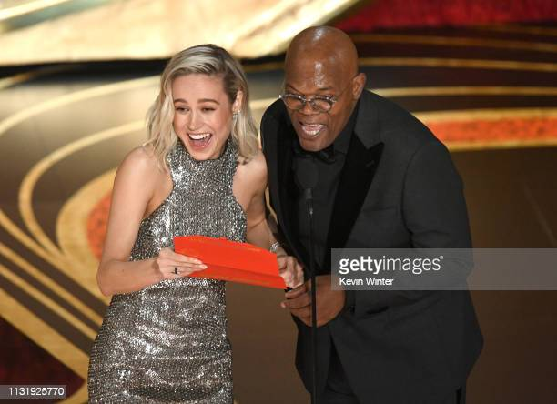 Brie Larson and Samuel L Jackson speak onstage during the 91st Annual Academy Awards at Dolby Theatre on February 24 2019 in Hollywood California