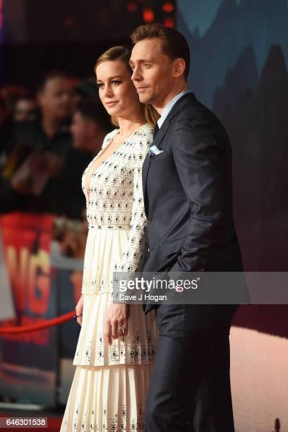 Brie Larson and Tom Hiddleston attend the European premiere of Kong Skull Island on February 28 2017 in London England