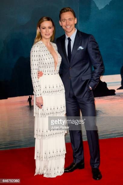 Brie Larson and Tom Hiddleston attend the European premiere of 'Kong Skull Island' at the Cineworld Empire Leicester Square on February 28 2017 in...