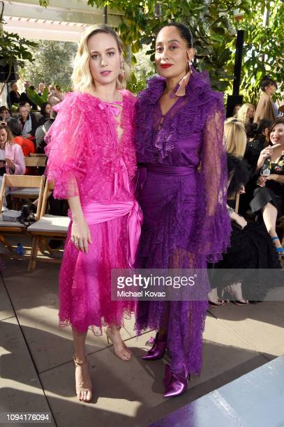 Brie Larson and Tracee Ellis Ross attend JNSQ Rose Cru debuts alongside Rodarte FW/19 Runway Show at Huntington Library on February 5 2019 in...