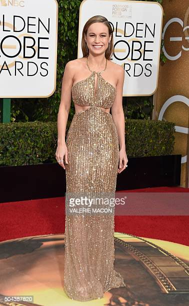 Brie Larson arrives at the 73nd annual Golden Globe Awards January 10 at the Beverly Hilton Hotel in Beverly Hills California AFP PHOTO / VALERIE...
