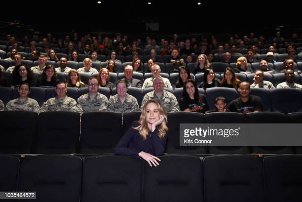 Brie Larson and GMA host Ginger Zee gather with fans and military personnel at Marvel Studios' 'CAPTAIN MARVEL' Teaser Trailer Launch at National Air...