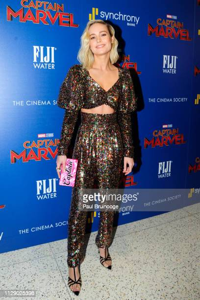 Brie Larson attends The Cinema Society With Synchrony Bank And FIJI Water Host A Special Screening Of Marvel Studios' Captain Marvel at Henry R Luce...