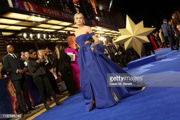 """Brie Larson attends the European Gala screening of """"Captain Marvel"""" at The Curzon Mayfair on February 27, 2019 in London, England."""