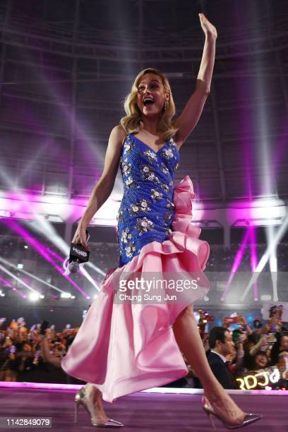 Brie Larson attends the fan event for Marvel Studios' 'Avengers Endgame' South Korea premiere on April 15 2019 in Seoul South Korea