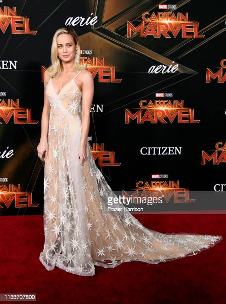 Brie Larson attends the Marvel Studios Captain Marvel premiere on March 04 2019 in Hollywood California