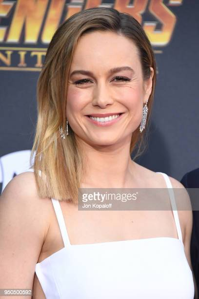 Brie Larson attends the premiere of Disney and Marvel's 'Avengers Infinity War' on April 23 2018 in Los Angeles California