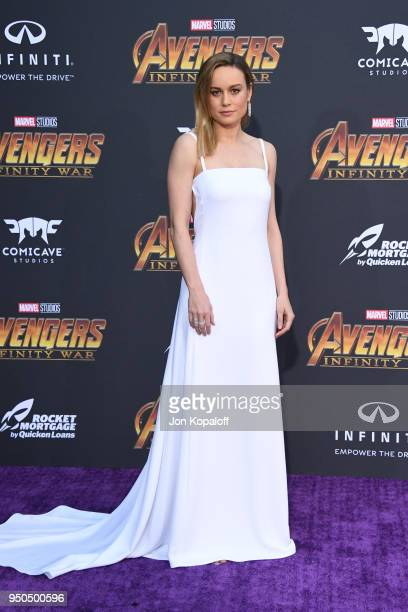 Brie Larson attends the premiere of Disney and Marvel's 'Avengers: Infinity War' on April 23, 2018 in Los Angeles, California.