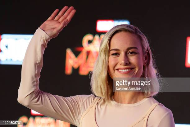 Brie Larson attends the press conference for 'Captain Marvel' at Marina Bay Sands Expo and Convention Centre on February 14 2019 in Singapore
