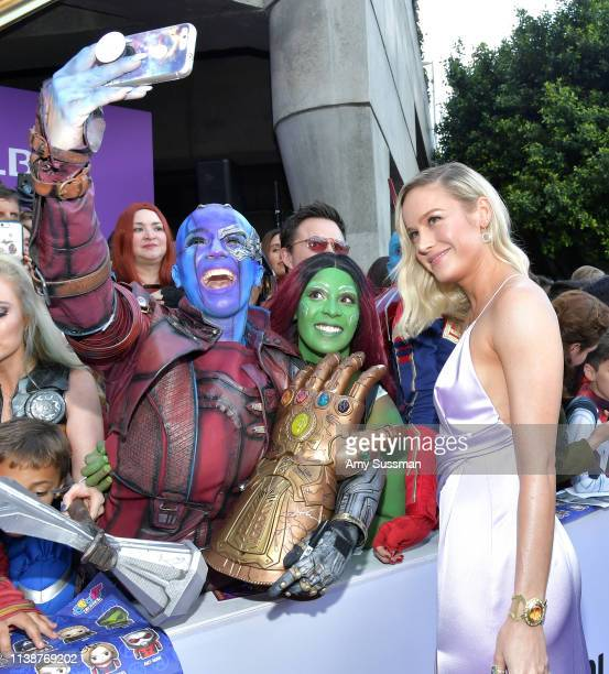 """Brie Larson attends the world premiere of Walt Disney Studios Motion Pictures """"Avengers: Endgame"""" at the Los Angeles Convention Center on April 22,..."""